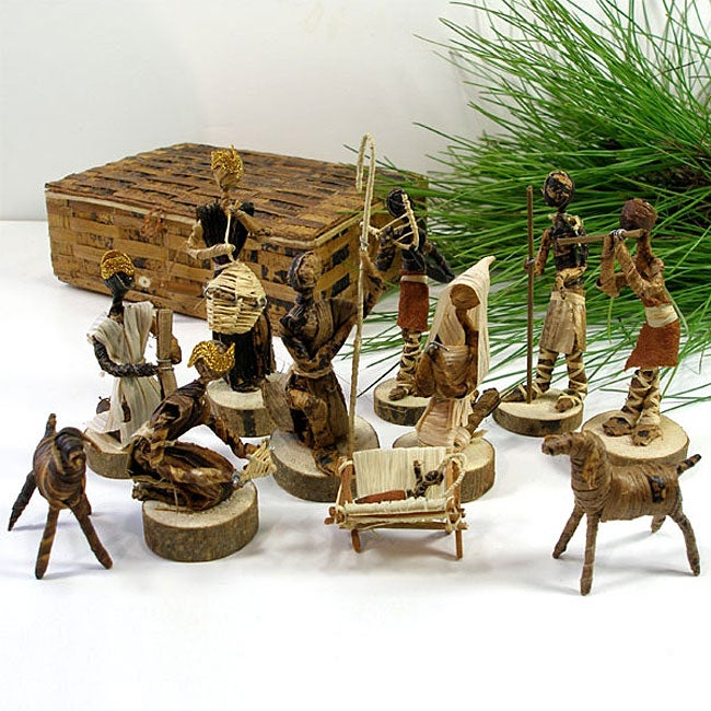 Banana Fiber Nativity Set , Handmade in Kenya with Gift Box
