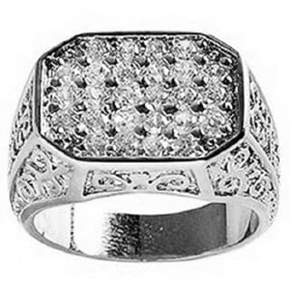 Simon Frank Mens .67 Equal Diamond Weight 14k White Gold Overlay Pave CZ Men's Ring