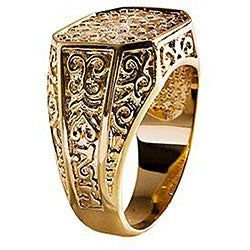 Simon Frank Mens .67 Equal Diamond Weight 14k Yellow Gold Overlay Pave CZ Men's Ring