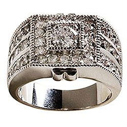 Simon Frank 14k White Gold Overlay 'Sparkler' CZ Men's Ring