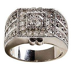 Simon Frank 14k White Gold Overlay 'Sparkler' CZ Men's Ring