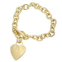 Sterling Essentials 14K Gold over Silver 7-inch Heart Toggle Bracelet