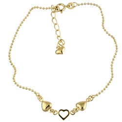 Sterling Essentials 14K Gold over Silver 9-inch Heart Anklet