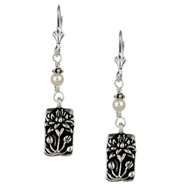 Charming Life Sterling Silver White FW Pearl and Lotus Charm Earrings (4-4.5 mm)