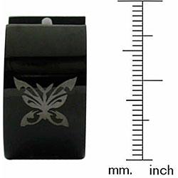 Black Steel Butterfly Hoop Earrings
