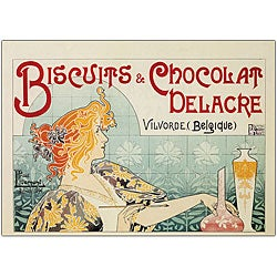 Privat Livemont 'Biscuits & Chocolate Delacre' Horizontal Canvas Art