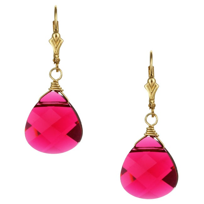 Charming Life 14k Goldfill Fuchsia Pink Crystal Briolette Earrings
