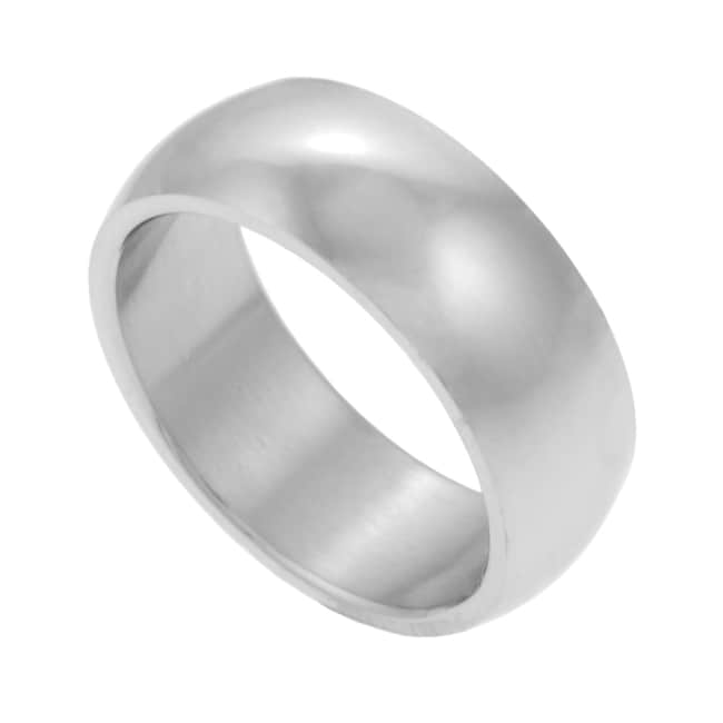 Stainless Steel Polished 8-mm Half-round Band