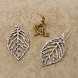 Sterling Silver Autumn Leaves Cutout Earrings (Mexico)