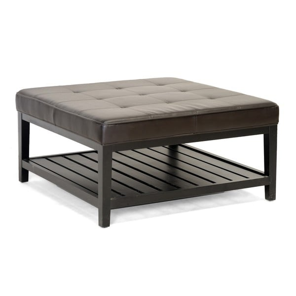 Win Square Brown Bi-cast Leather Ottoman with Lower Shelf