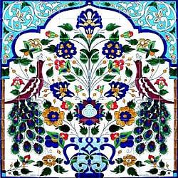 Mosaic 'Peacock' 81-tile Ceramic Wall Mural