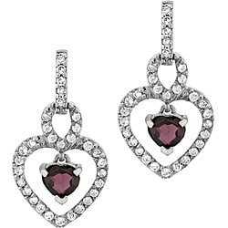 Glitzy Rocks Sterling Silver Garnet and CZ Heart Earrings