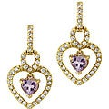 Glitzy Rocks 18k Goldplated Silver Amethyst and CZ Heart Earrings