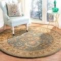 Handmade Heritage Kermansha Blue/ Beige Wool Rug (6' Round)