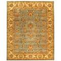Handmade Heritage Kermansha Blue/ Beige Wool Rug (7'6 x 9'6)