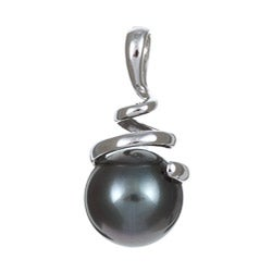 Miadora 14k Gold Round Tahitian Pearl Spiral Necklace (8-9 mm)