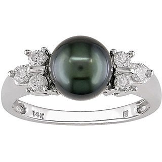 Miadora 14k Gold Tahitian Pearl and 1/5ct TDW Diamond Ring (7-7.5 mm)