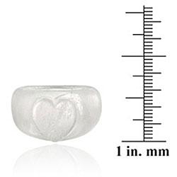 Glitzy Rocks Genuine Icy Clear Crystal Smooth Raised Heart Fashionable Ring