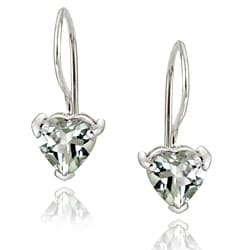 Glitzy Rocks Sterling Silver Green Amethyst Heart Earrings