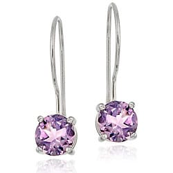 Glitzy Rocks Sterling Silver Euro Wire Amethyst Earrings