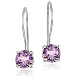 Glitzy Rocks Sterling Silver Euro Wire Amethyst Earrings