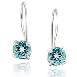 Glitzy Rocks Sterling Silver Euro Wire Blue Topaz Earrings