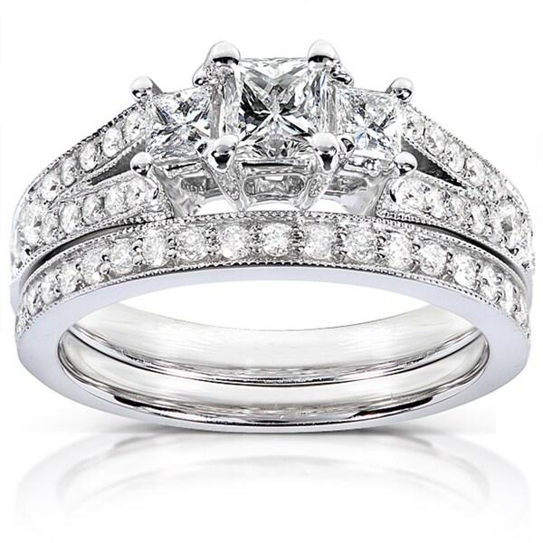 Annello 14k Gold 1ct TDW Princess-cut Diamond Bridal Set