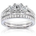Annello 14k Gold 1ct TDW Princess-cut Diamond Bridal Set