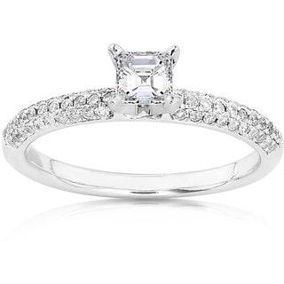Annello 14k Gold 1/2ct TDW Asscher Diamond Ring (H-I, SI1-SI2)