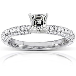 Annello 14k Gold 1/2ct TDW Asscher Diamond Ring (H-I, SI1-SI2)
