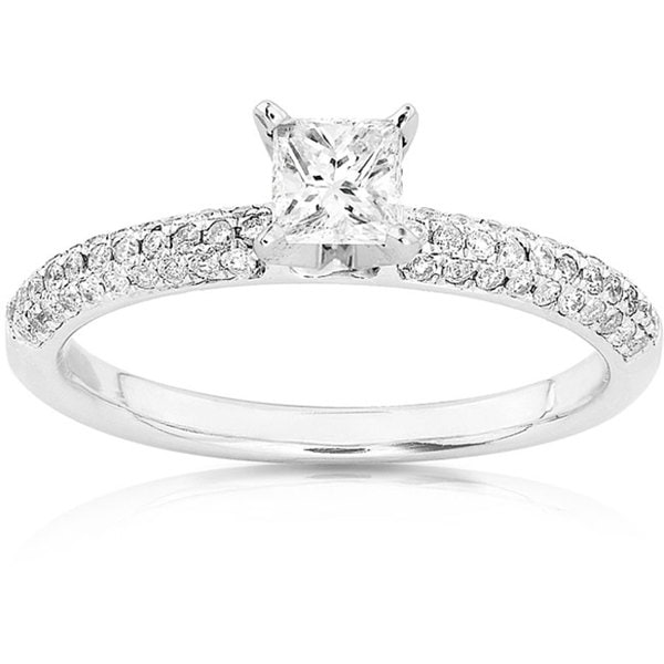 Annello 14k Gold 1/2ct TDW Princess-cut Diamond Engagement Ring (H-I, I1-I2)
