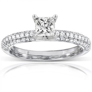 Annello 14k Gold 3/4ct TDW Princess-cut Diamond Engagement Ring (H-I, I1-I2)