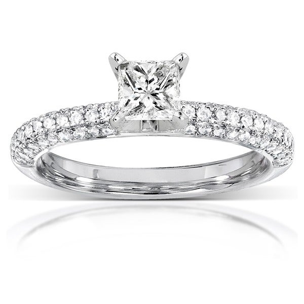 Annello 14k White Gold 3/4ct TDW Princess-cut Diamond Engagement Ring (H-I, I1-I2)