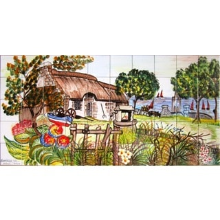 Mosaic 'Landscape Country View' 50-tile Ceramic Wall Mural
