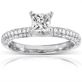 Annello 14k Gold 1ct TDW Princess-cut Diamond Engagement Ring (H-I, I1-I2)
