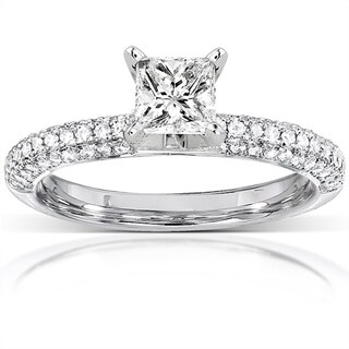 Annello 14k White Gold 1ct TDW Princess Cut Pave Diamond Solitaire Ring (H-I, I1-I2)