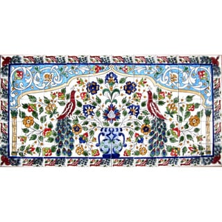 Mosaic 'Horizontal Peacock' 50-tile Ceramic Wall Mural