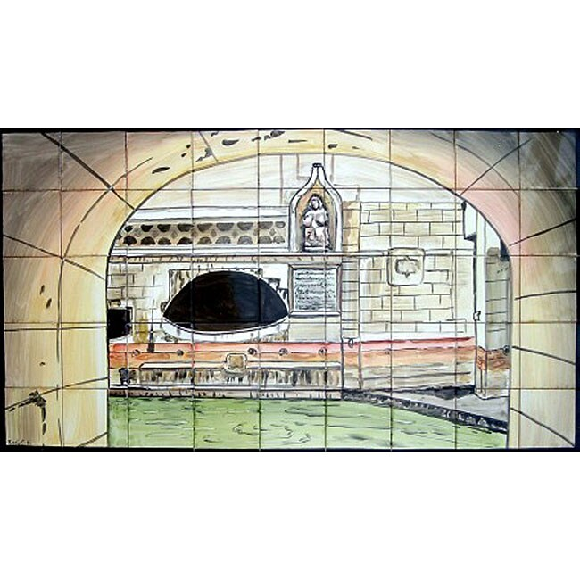 Mosaic 'Roman Caracalla Bath' 45-tile Ceramic Wall Mural
