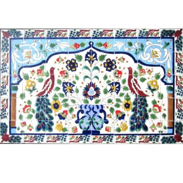 Mosaic 'Peacock' 40-tile Ceramic Wall Mural