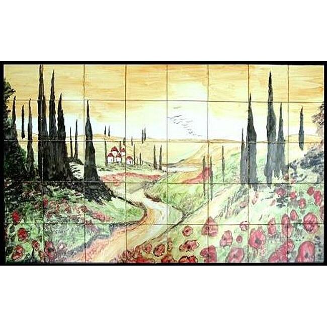 Tuscany Landscape Mosaic Mural Tiles (Set of 40)