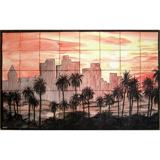 Mosaic 'Sunset Scene' 40-tile Mural