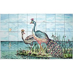Mosaic Landscape Peacock Couple 40-tile Mural