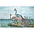 Mosaic Landscape Peacock Couple 40-tile Mural