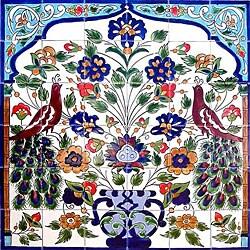 Mosaic 'Peacock' Ceramic 36-tile Mural