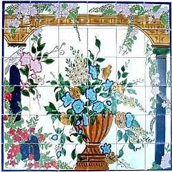 Backsplash Veranda Mosaic Ceramic Wall Tile Mural (Set of 36)