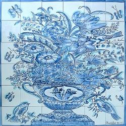Mosaic 'Cobalt Blue Birds' 36-tile Mural
