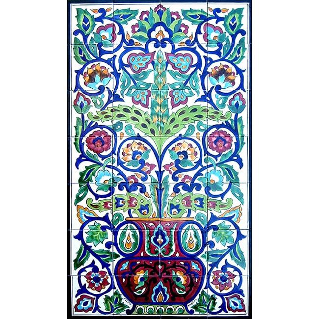 Arabesque Floral Pot 28-tile Mosaic Panel
