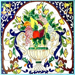 Mosiac 'Kitchen Fruit' 25-tile Ceramic Wall Mural