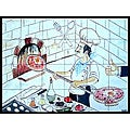 Mosaic 'Pizzaiolo Restaurant' 24-tile Ceramic Wall Mural