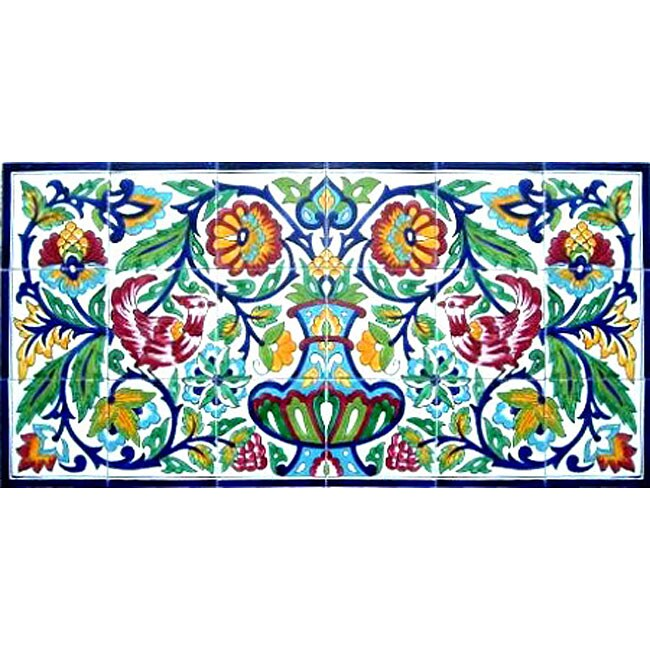 Rooster Kitchen Mosaic 18-tile Wall Mural